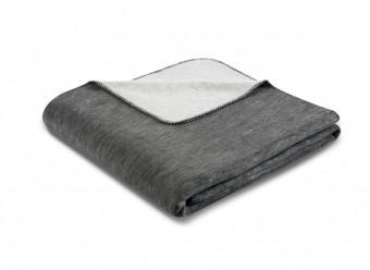 Biederlack Plaid Duo Cotton Melange anthrazit silber